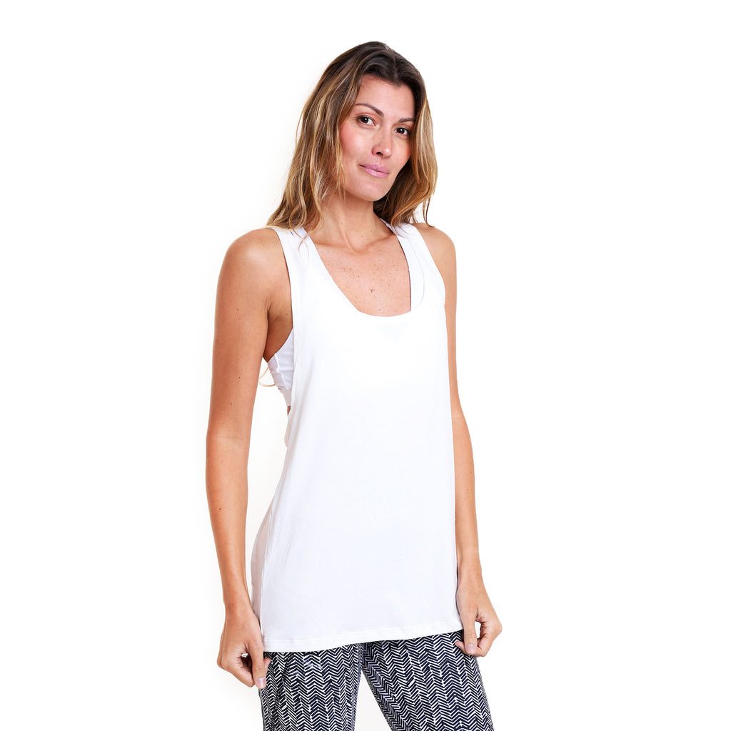 Polera Yoga Twist Tank Off White