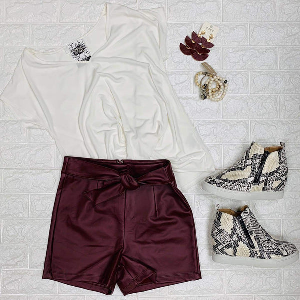 Wine Faux Leather Shorts