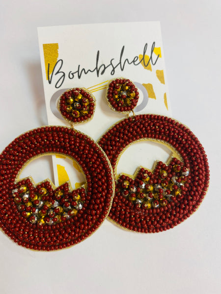 Rust Beaded Hoop Earring