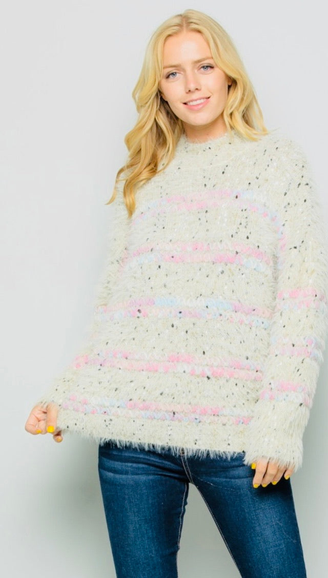 Speckled Shag Cream Sweater