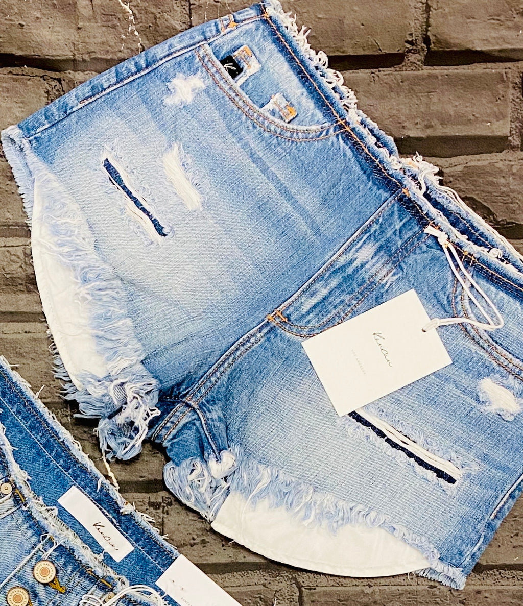Raw Waistband Denim Shorts