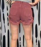 Wine Distressed Denim Shorts