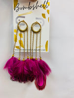 Magenta Feather Dangle Earring
