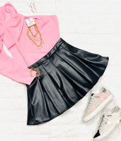 Blk Leather Pleated Skirt