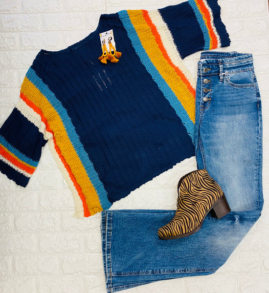Navy Multi Sweater