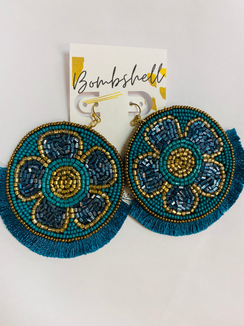 Teal Beaded Floral Earring