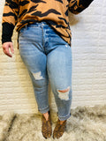 Mid-Rise Distressed Jean Plus