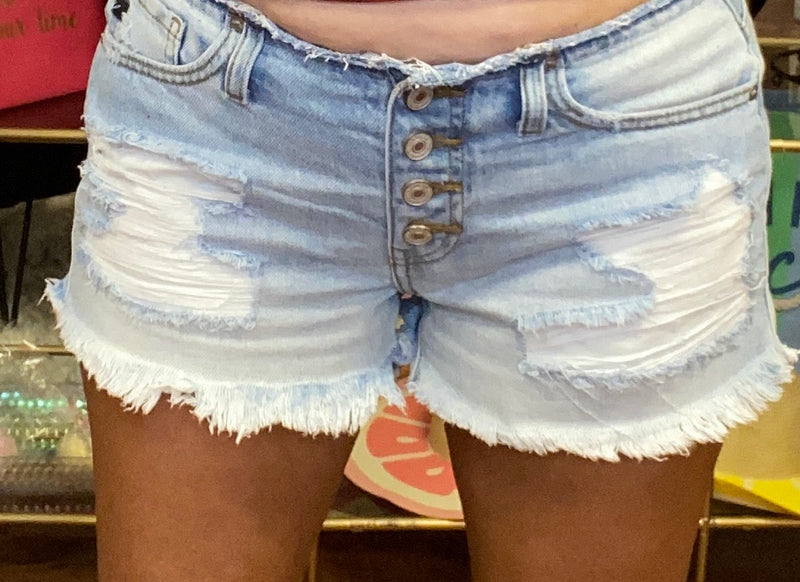Button Fly Distressed Shorts