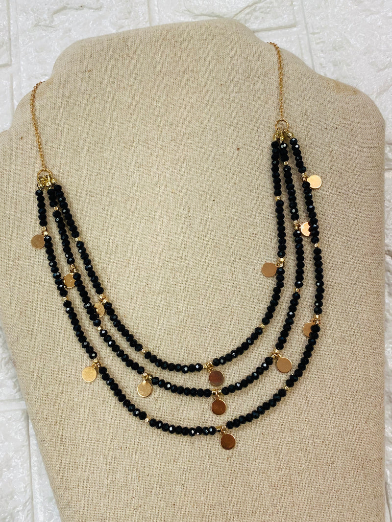 Tiered Black Beaded Necklace