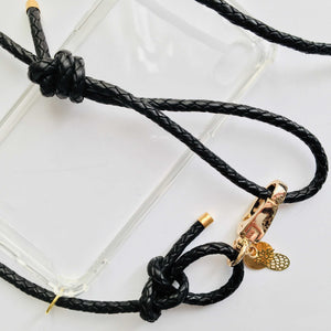 Handykette Leder - Midnight Black Gold - NURI