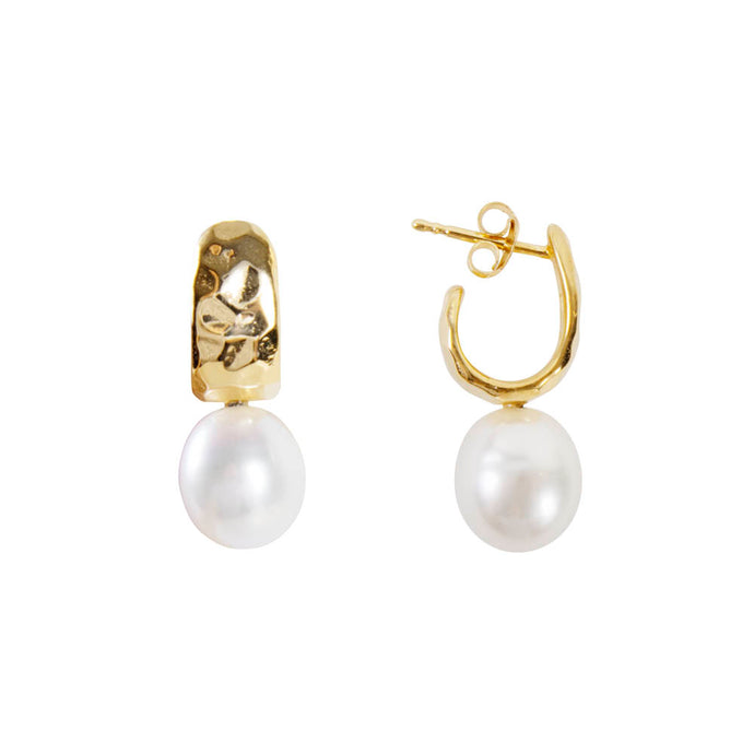 Pearl Beaten Dolce Hoops - Gold