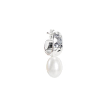 Load image into Gallery viewer, Pearl Beaten Dolce Hoops - Silver