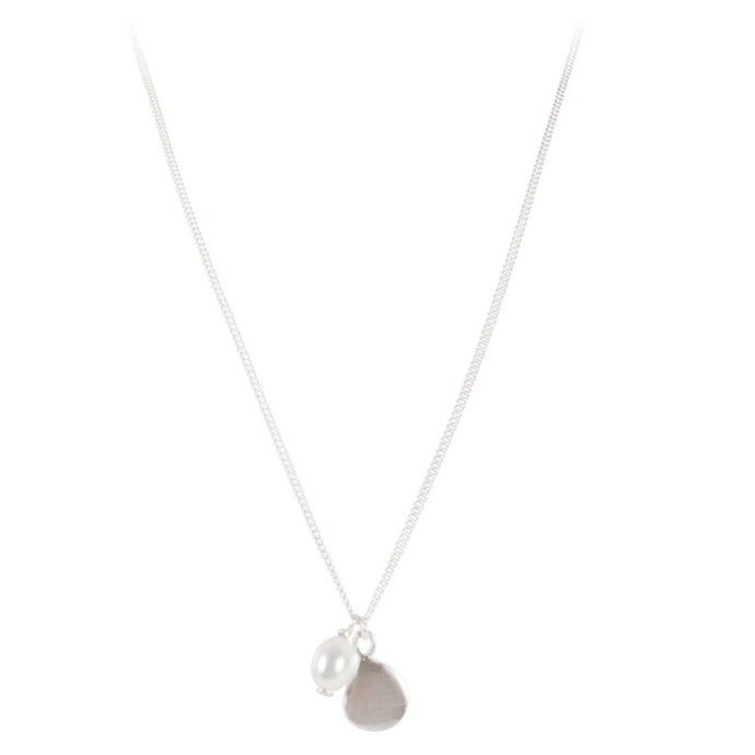Pearl Disc Necklace - Silver