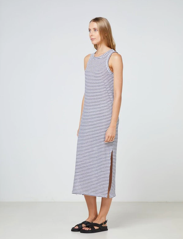 Linen Tank Dress - Navy Stripe