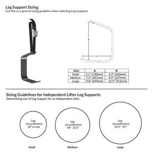 Handicare Prism Medical Patient Independent Lifter Leg Support Sizing Guide – VIVA Mobility