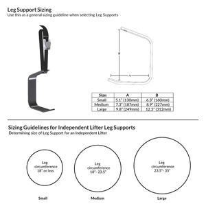 Handicare Prism Medical Independent Lifter sizing guide