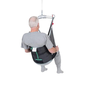 Handicare LowBackSling user polyester net fabric back view — Patient Slings | VIVA Mobility