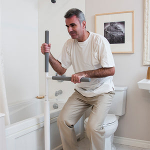 HealthCraft Advantage Rail user toilet transfer – Bathroom Safety | VIVA Mobility