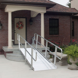 PVI OnTrac Portable Solid Surface Ramp with handrails on entry way steps | VIVA Mobility