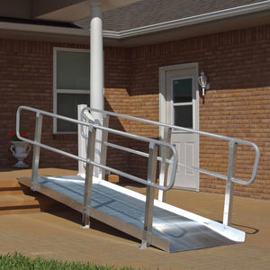 PVI OnTrac Portable Solid Surface Ramp with handrails home access | VIVA Mobility