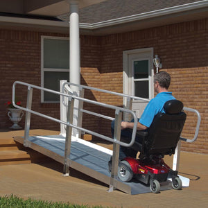 PVI OnTrac Portable Solid Surface Ramp with handrails wheelchair user | VIVA Mobility