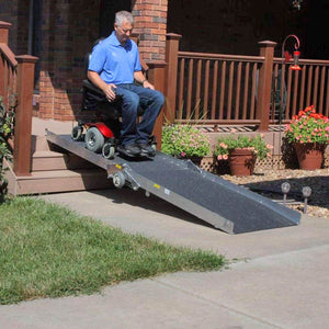 PVI Wheel-A-Bout Portable Folding Ramp user on power wheelchair | VIVA Mobility