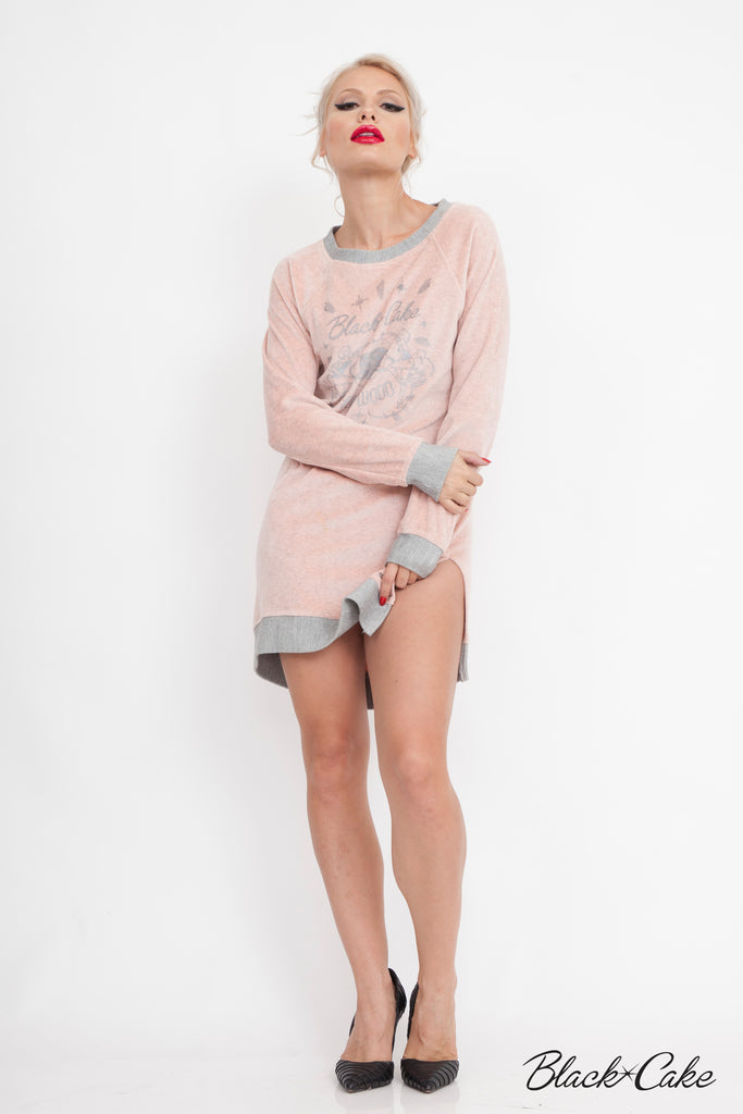 PINK VELOUR SWEATSHIRT DRESS
