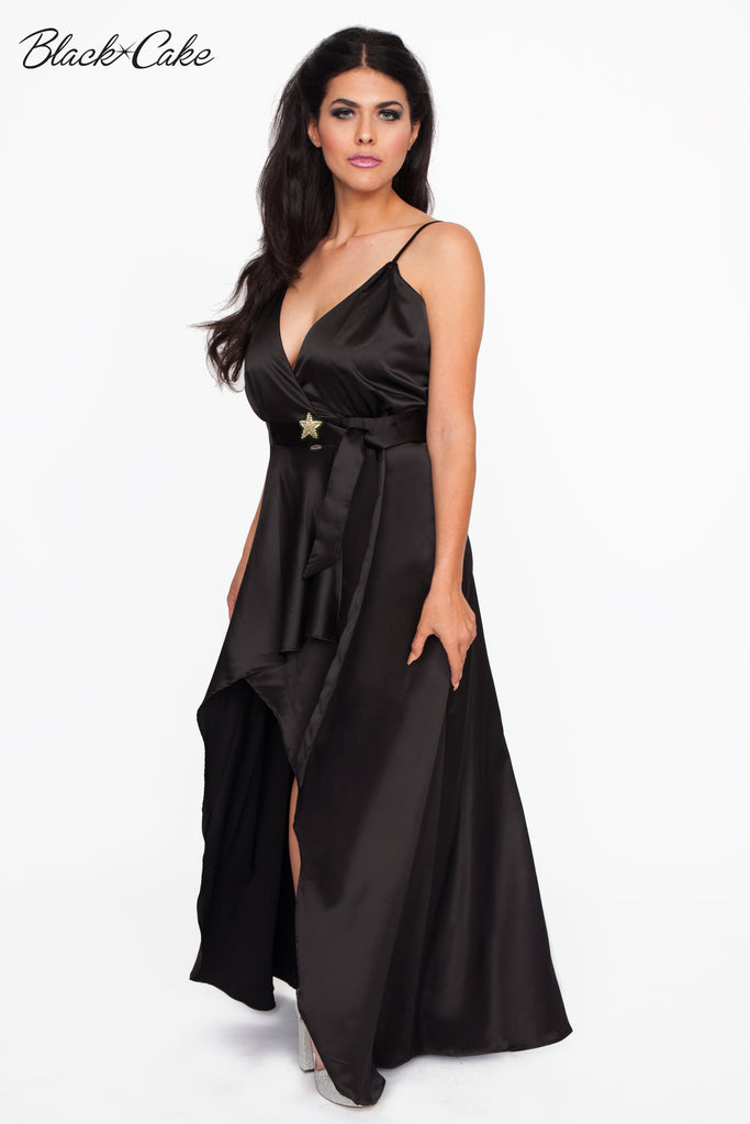 Black Satin Wrap Dressing Gown