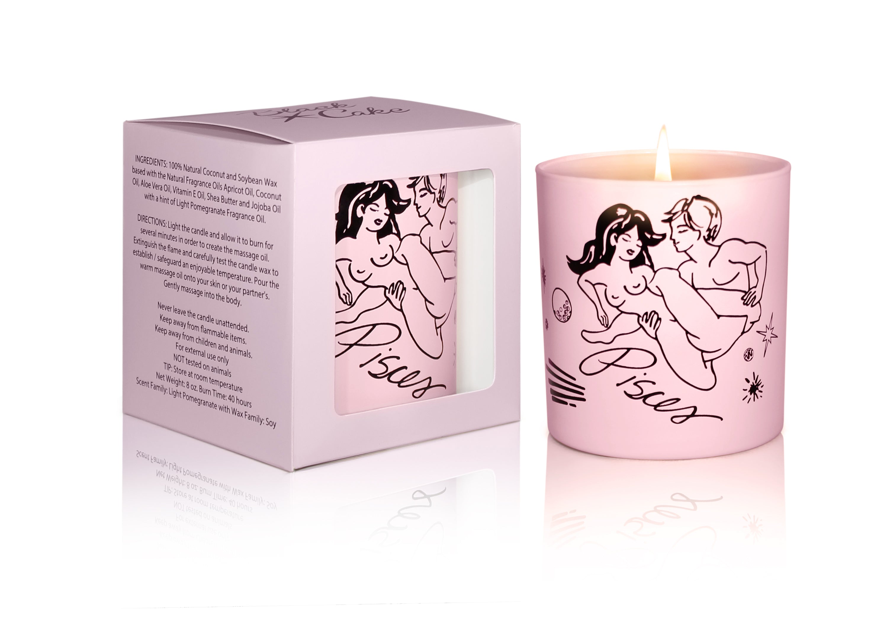 Zodiac Massage Candle Pisces, Pomegranate Fragrance