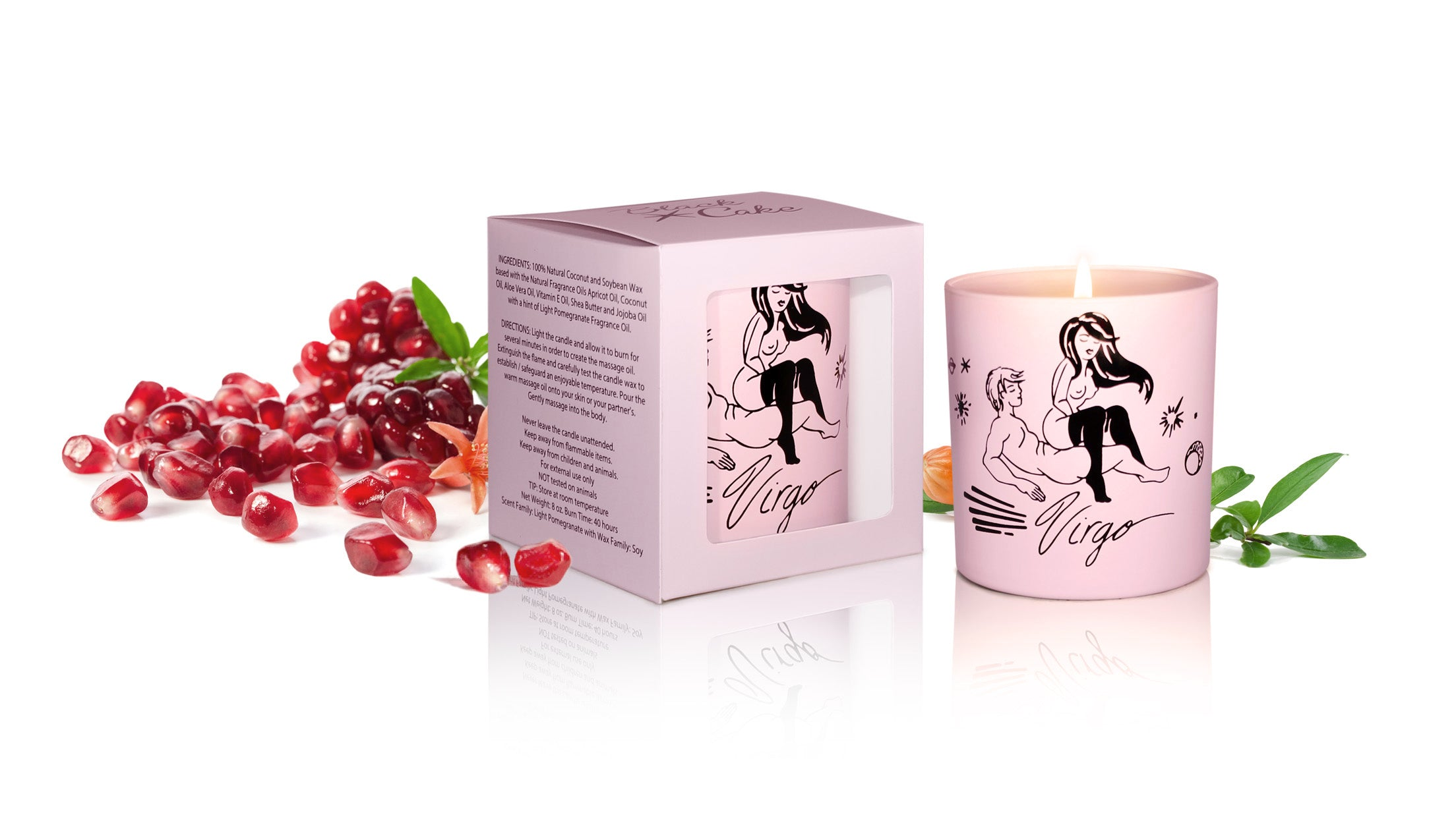 Zodiac Massage Candle Virgo, Pomegranate Fragrance