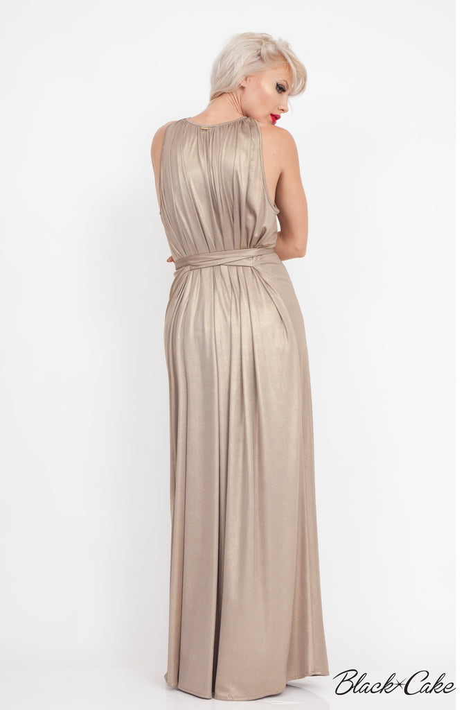 GOLD METALLIC FOIL HOLLYWOOD GLAM DRESS