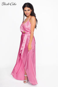 Pink Satin Wrap Dressing Gown