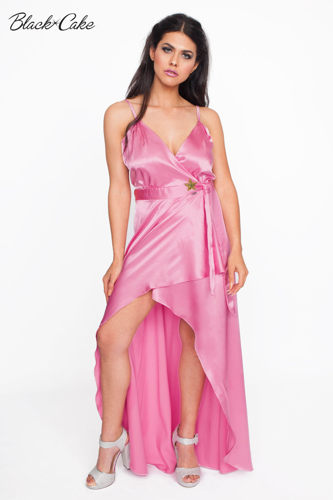 Pink Satin Wrap Dressing Gown – BlackCakeClothing e13863a9d57c
