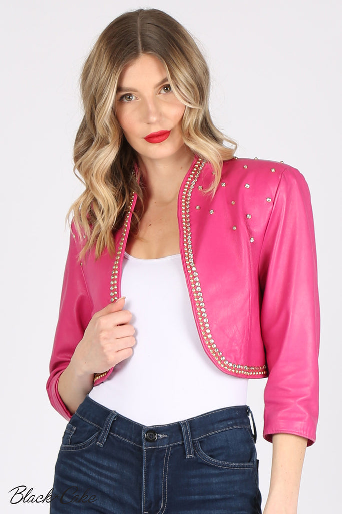 Pink Upcycled Rhinestone Embellished Zodiac Sign Horsocope Leather Jacket by Black Cake Clothing