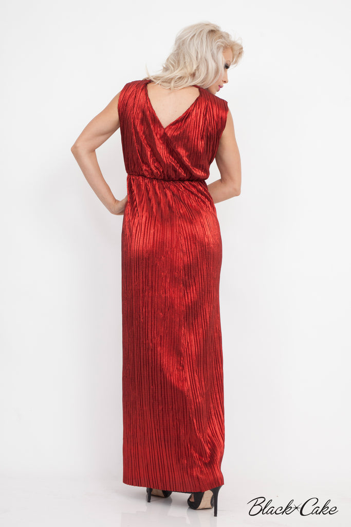 RED LAMÉ METALLIC GRECIAN DRESS