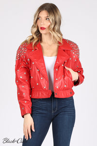 Red Upcycled Zodiac Sign Leather Jacket