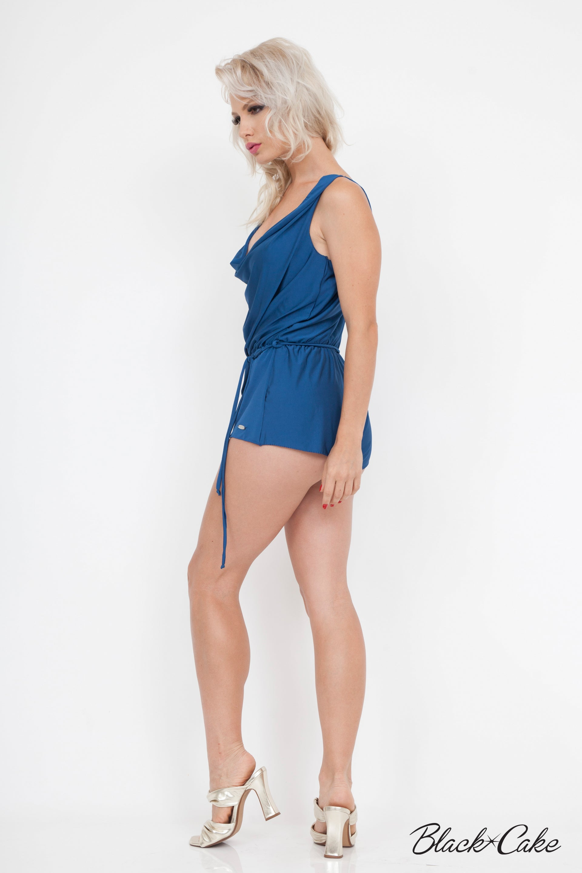 SILKY SEXY DRAPED SHORTS ROMPER NAVY