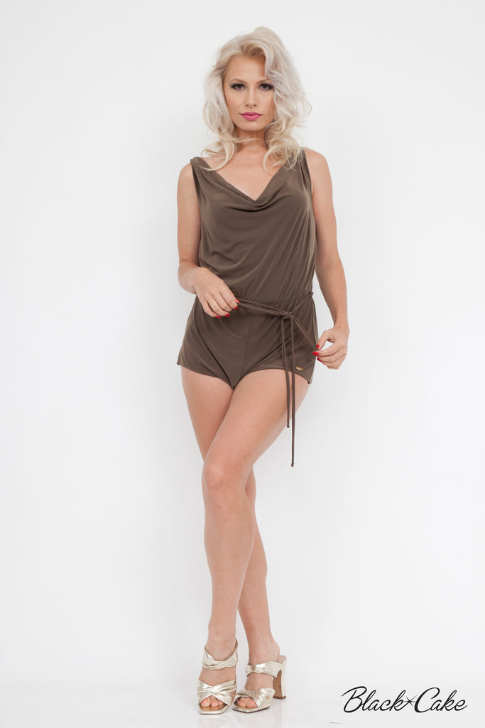 SILKY SEXY DRAPED SHORTS ROMPER OLIVE