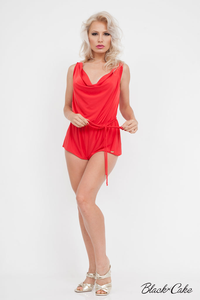 68002a2934e SILKY SEXY DRAPED SHORTS ROMPER RED – BlackCakeClothing