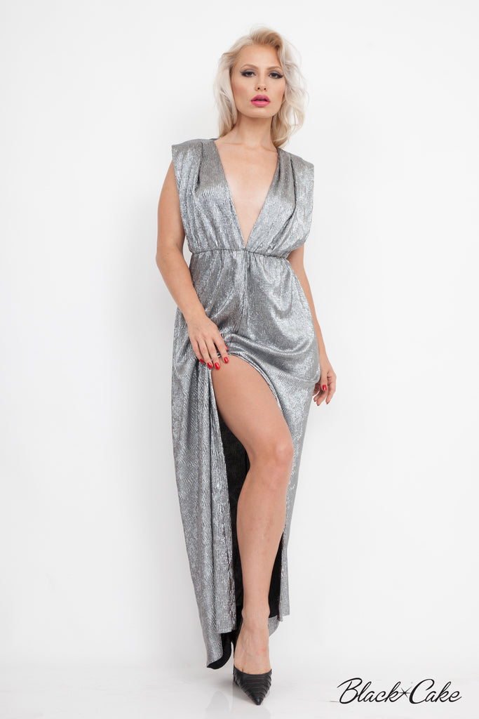 SILVER LAMÉ METALLIC GRECIAN DRESS