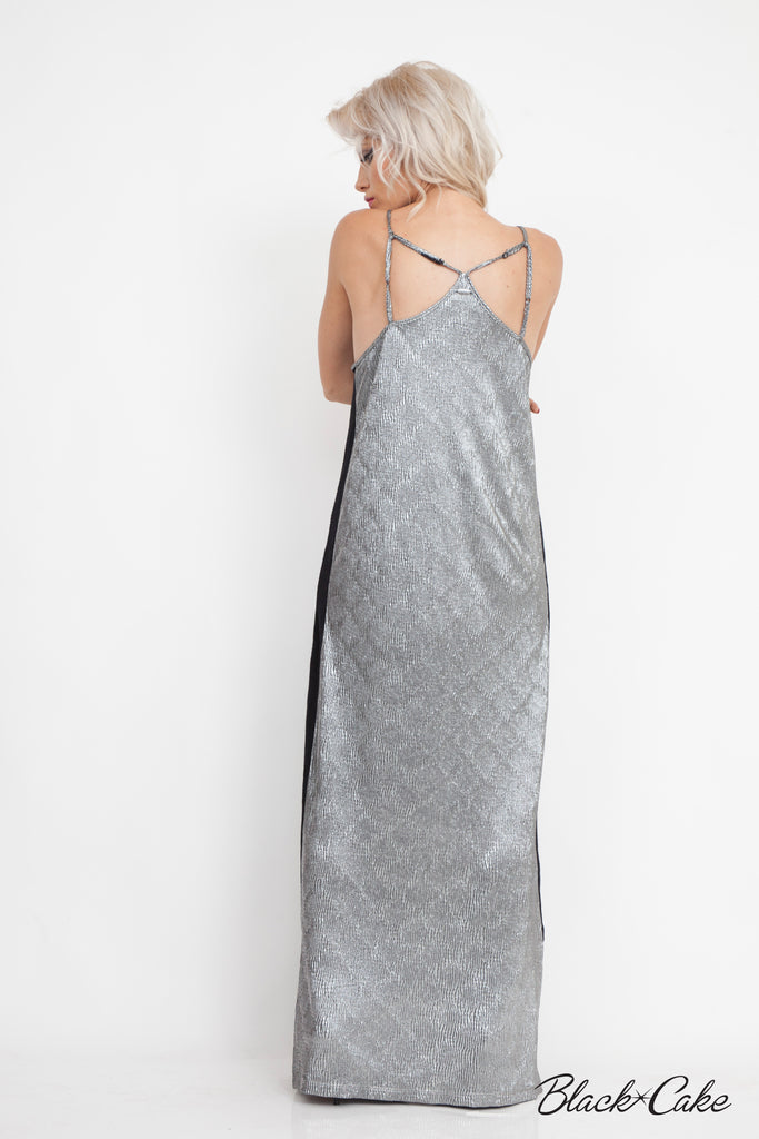 SILVER LAMÉ METALLIC MAXI DRESS