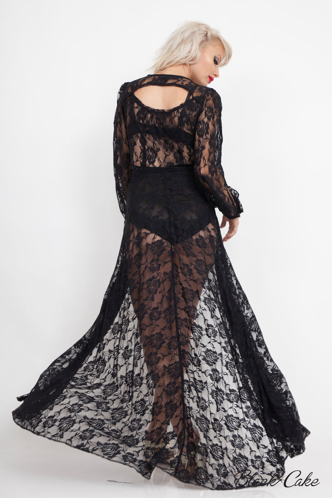 STARLET BLACK LACE WRAP DRESS
