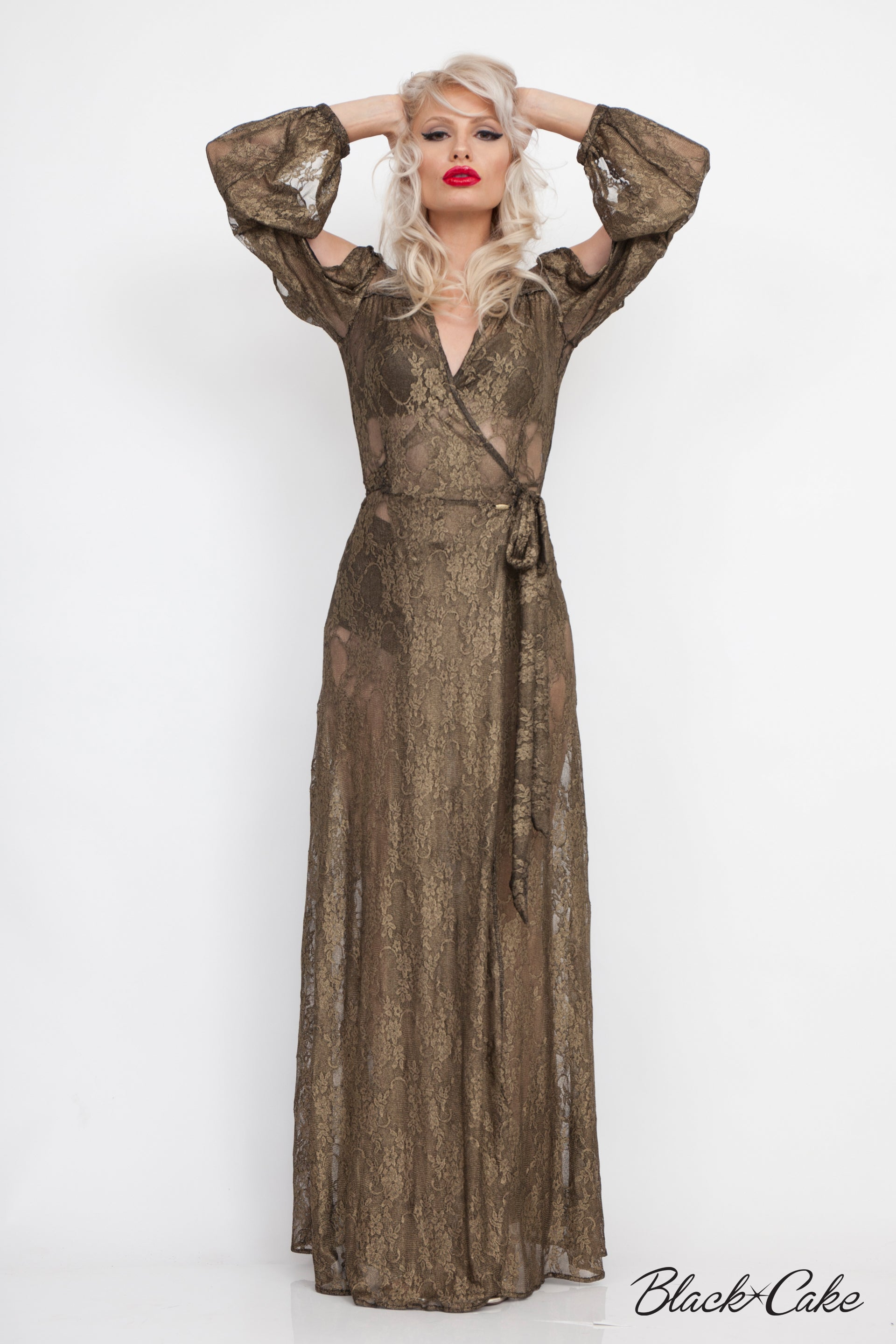 STARLET GOLD LAME LACE WRAP DRESS
