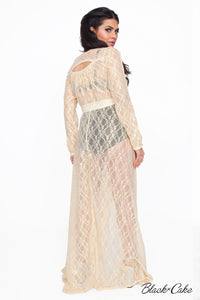 STARLET IVORY LACE WRAP DRESS