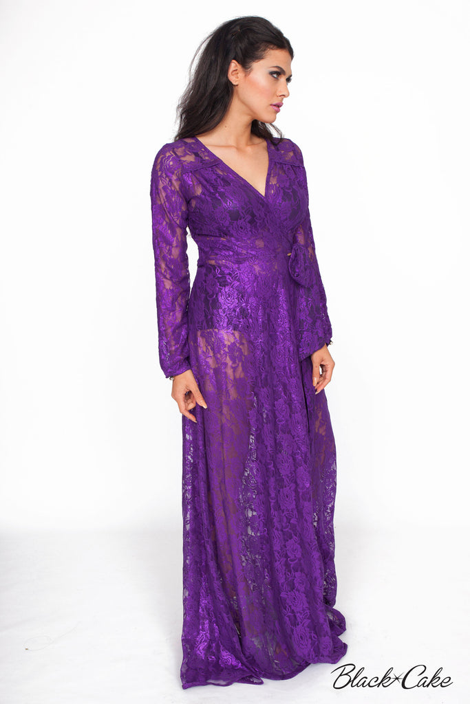 STARLET PLUM LACE WRAP DRESS