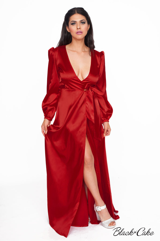 STARLET RED WRAP DRESS