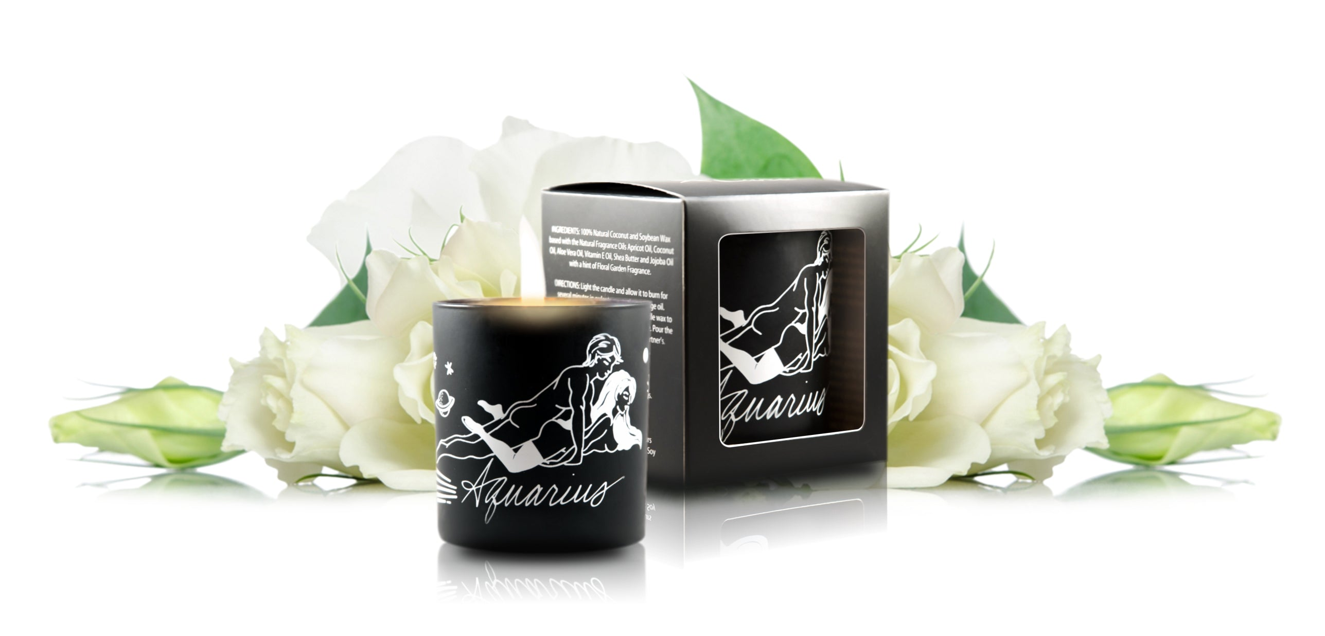 Zodiac Massage Candle Aquarius, Garden Floral Fragrance