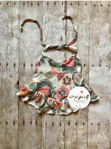 Dusty Floral Ruffle Halter