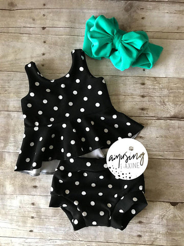 Monochrome Polka Dot HiLo Tunic & Bummie Set