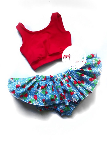 Sweet Strawberry Jubilee Skirted Bloomers & Crop Set